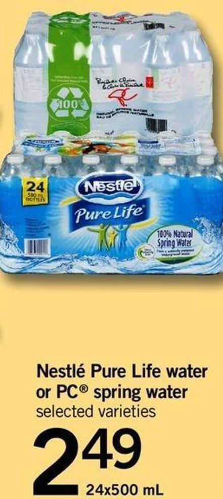 Nestlé Pure Life Water Or PC Spring Water - 24x500 Ml