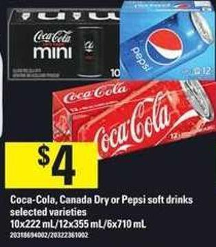 Coca-cola - Canada Dry Or Pepsi Soft Drinks - 10x222 Ml/ 12x355 Ml/ 6x710 Ml