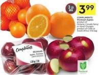 Compliments Mcintosh Apples Product of Ontario - Canada Fancy or Navel Oranges Product of Chile or South Africa 3 Lb Bag