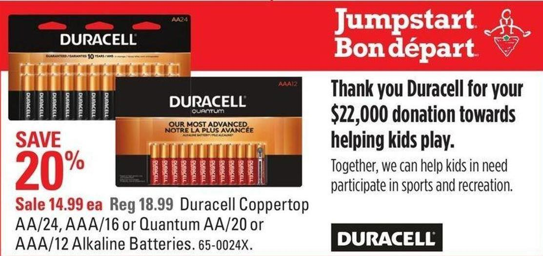 Duracell Coppertop Aa/24 - Aaa/16 or Quantum Aa/20 or Aaa/12 Alkaline Batteries