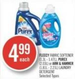 Fleecy Fabric Softener (1.3l - 1.47l) - Purex (2.03l) or Arm & Hammer (1.81l - 2.21l) Laundry Detergent