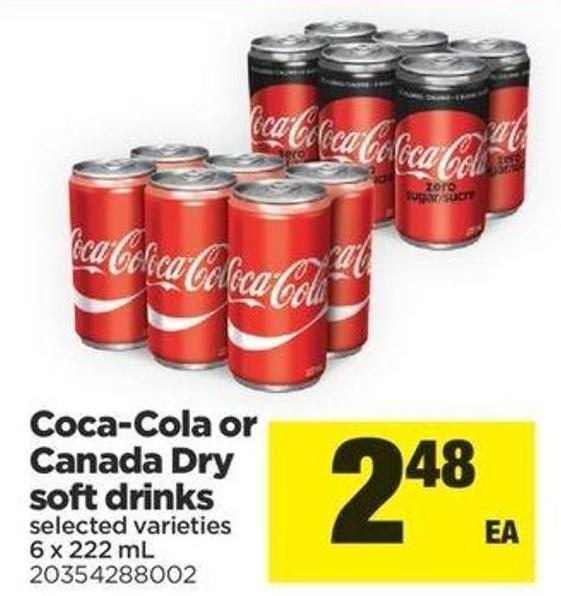 Coca-cola Or Canada Dry Soft Drinks - 6 X 222 Ml