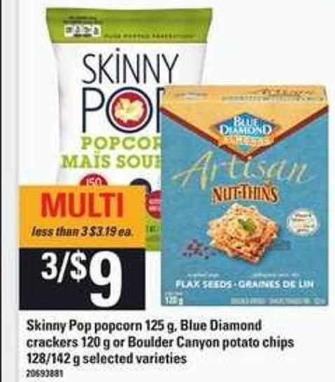 Skinny Pop Popcorn 125 G - Blue Diamond Crackers 120 G Or Boulder Canyon Potato Chips 128/142 G