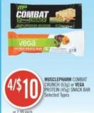 Musclepharm Combat Crunch (63 G) or Vega Protein (45 G) Snack Bar