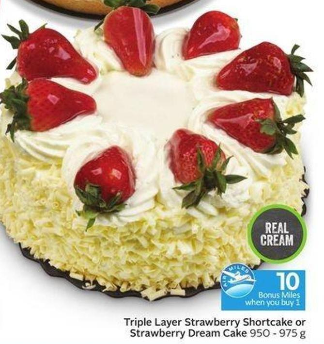 Triple Layer Strawberry Shortcake or Strawberry Dream Cake - 10 Air Miles Bonus Miles