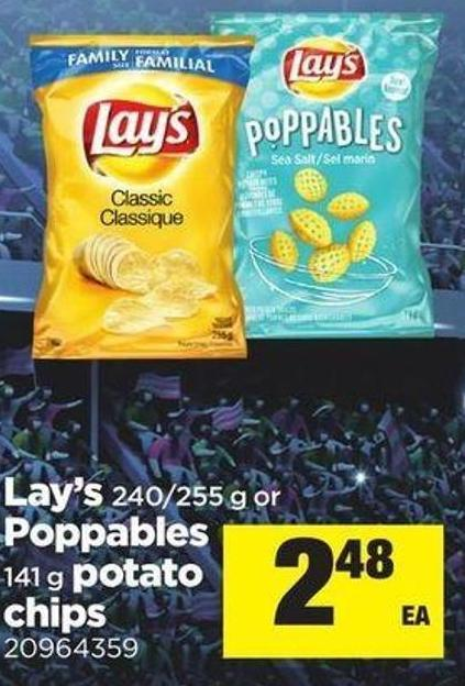 Lay's 240/255 G Or Poppables 141 G Potato Chips