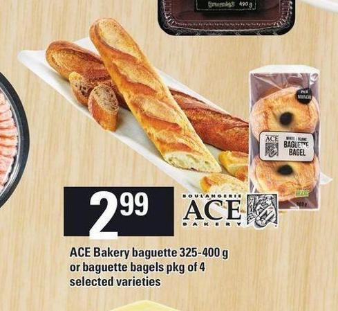 Ace Bakery Baguette 325-400 G Or Baguette Bagels Pkg Of 4