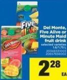 Del Monte - Five Alive Or Minute Maid Fruit Drink - 1.6/1.75 L