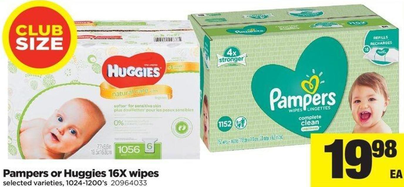 Pampers Or Huggies - 16x Wipes - 1024-1200's