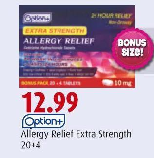 Option+ Allergy Relief Extra Strength 20+4