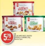 PC Deluxe Mixed Nuts - Roasted Cashews or Almonds 200g