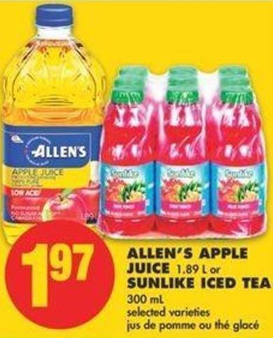 Allen's Apple Juice 1.89 L Or Sunlike Iced Tea 300 Ml