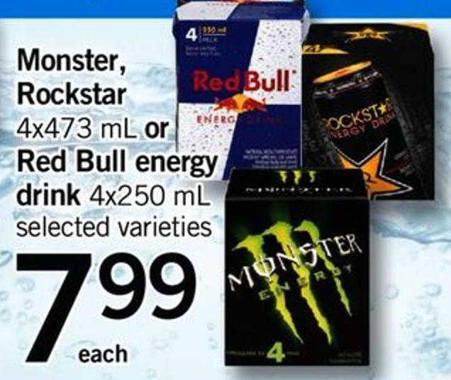 Monster - Rockstar - 4x473 Ml Or Red Bull Energy Drink.4x250 Ml