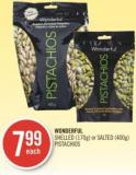 Wonderful Shelled (170g) or Salted (400g) Pistachios