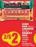 Kind Bar - 40 g or Larabar - 45/48 g Energy Bar