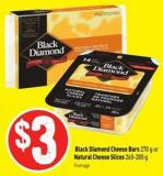 Black Diamond Cheese Bars 270 g or Natural Cheese Slices 260-280 g