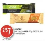Oh Yeah One (60g) or Vega (70g) Protein Bar