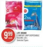 Life Brand Comfort Grip Disposable Razors 18's