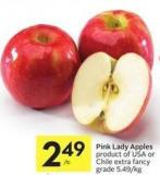 Pink Lady Apples Product of USA or Chile Extra Fancy Grade 5.49/kg
