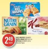 Kellogg's Rice Krispies Squares - Nutri-grain Bars (8's) or Special K Crisps (10's)