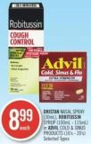 Dristan Nasal Spray (30ml) - Robitussin Syrup (100ml - 115ml) or Advil Cold & Sinus Products (16's - 20's)