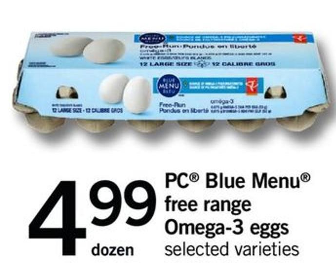PC Blue Menu Free Range Omega-3 Eggs - Dozen