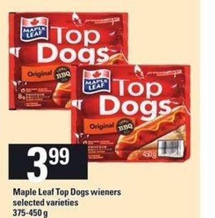 Maple Leaf Top Dogs Wieners - 375-450 g
