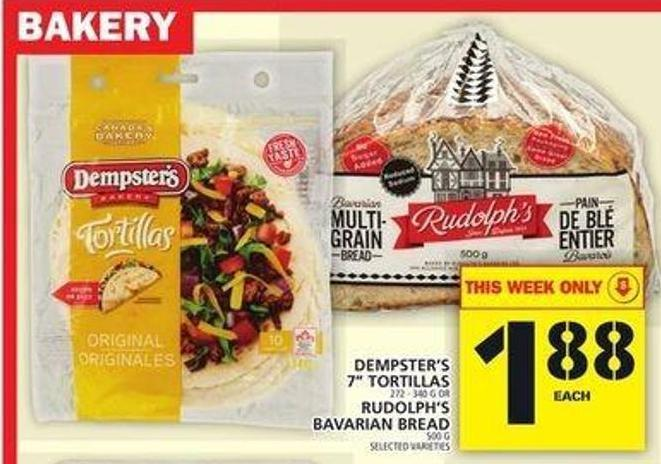 Dempster's 7in Tortillas Or Rudolph's Bavarian Bread