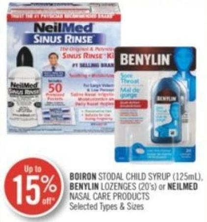 Boiron Stodal Child Syrup (125ml) Benylin Lozenges (20's) or Neilmed Nasal Care Products