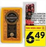 Balderson Cheddar Or Irresistibles Goat Cheese