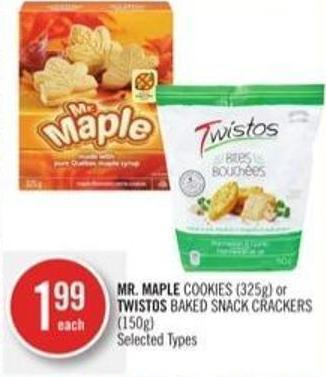 Mr. Maple Cookies (325g) or Twistos Baked Snack Crackers (150g)