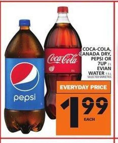 Coca-cola - Canada Dry - Pepsi Or 7up Evian Water