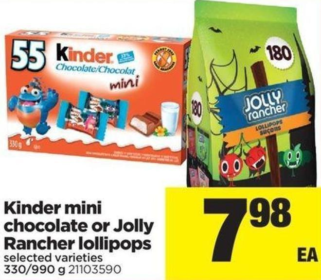 Kinder Mini Chocolate Or Jolly Rancher Lollipops - 330/990 g