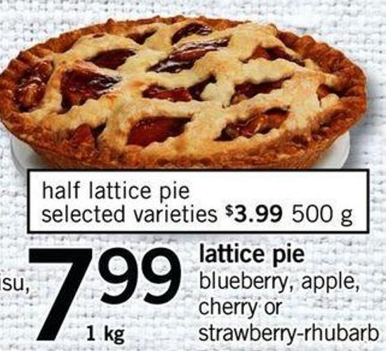 Lattice Pie Blueberry - Apple - Cherry Or Strawberry-rhubarb - 1 Kg