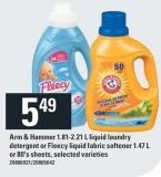 Arm & Hammer 1.81-2.21 L Liquid Laundry Detergent Or Fleecy Liquid Fabric Softener 1.47 L Or 80's Sheets