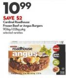 Cardinal Roadhouse  Frozen Beef or Angus Burgers  906g-1.02kg Pkg