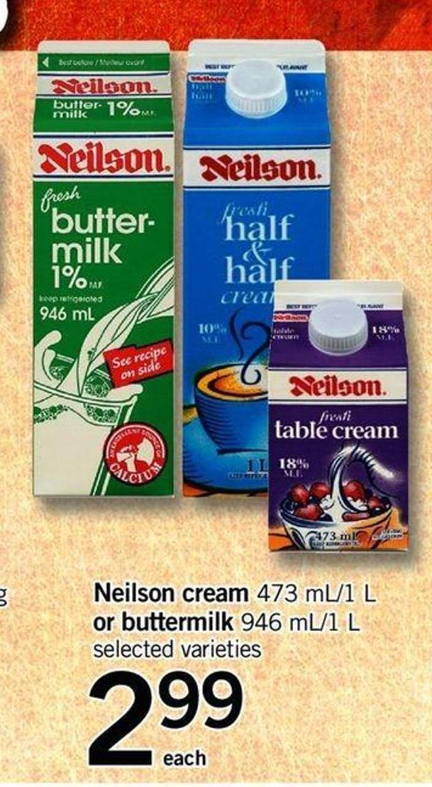Neilson Cream - 473 Ml/1 L Or Buttermilk - 946 Ml/1 L