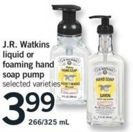 J.r. Watkins Liquid Or Foaming Hand Soap Pump - 266/325 Ml