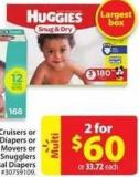 Huggies Snug & Dry Little Movers or Little Snugglers Mega Colossal Diapers