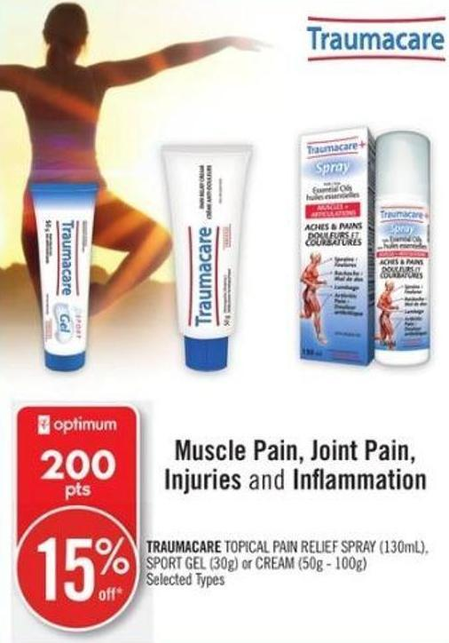 Traumacare Topical Pain Relief Spray (130ml) - Sport Gel (30g) or Cream (50g - 100g)