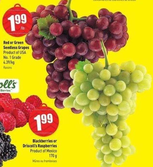 Red or Green Seedless Grapes Product of USA - No. 1 Grade - 4.39/kg