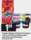 Fruitopia - Nestea - Or Peace Tea Beverages - 1.75 L Or Jell-o Gel Or Pudding Snacks - 4x89-113 G