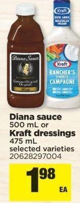 Diana Sauce 500 Ml Or Kraft Dressings 475 Ml