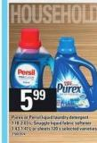 Purex Or Persil Liquid Laundry Detergent - 1.18-2.03 L - Snuggle Liquid Fabric Softener - 1.43-1.47 L Or Sheets - 120's