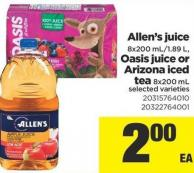 Allen's Juice 8x200 Ml/1.89 L - Oasis Juice Or Arizona Iced Tea - 8x200 Ml