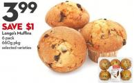 Longo's Muffins 6 Pack 660g Pkg