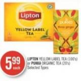 Lipton Yellow Label Tea (100's) or Pukka Organic Tea (20's)