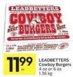Leadbetters Cowboy Burgers 4 Oz or 6 Oz 1.36 Kg