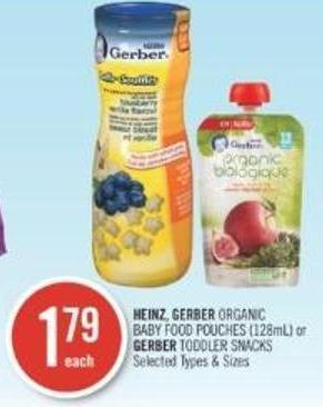 Heinz - Gerber Organic Baby Food Pouches (128ml) or Gerber Toddler Snacks