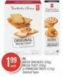 PC Water Crackers (100g) - Melba Toast (200g) or Parmesan Twists (125g)
